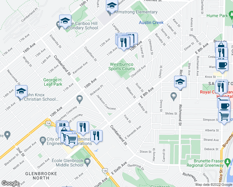 map of restaurants, bars, coffee shops, grocery stores, and more near 834 Massey Street in New Westminster