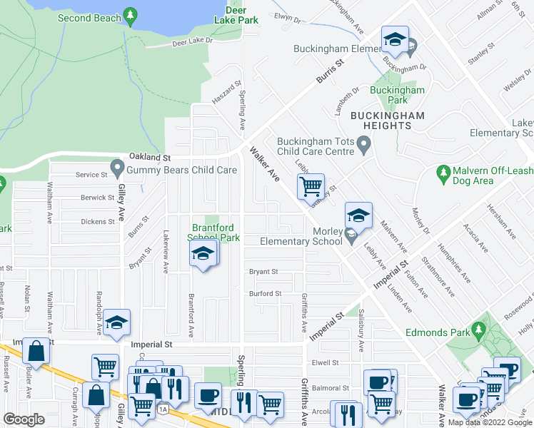 map of restaurants, bars, coffee shops, grocery stores, and more near 6780 Stanley Street in Burnaby