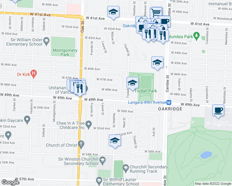 map of restaurants, bars, coffee shops, grocery stores, and more near 764 West 48th Avenue in Vancouver