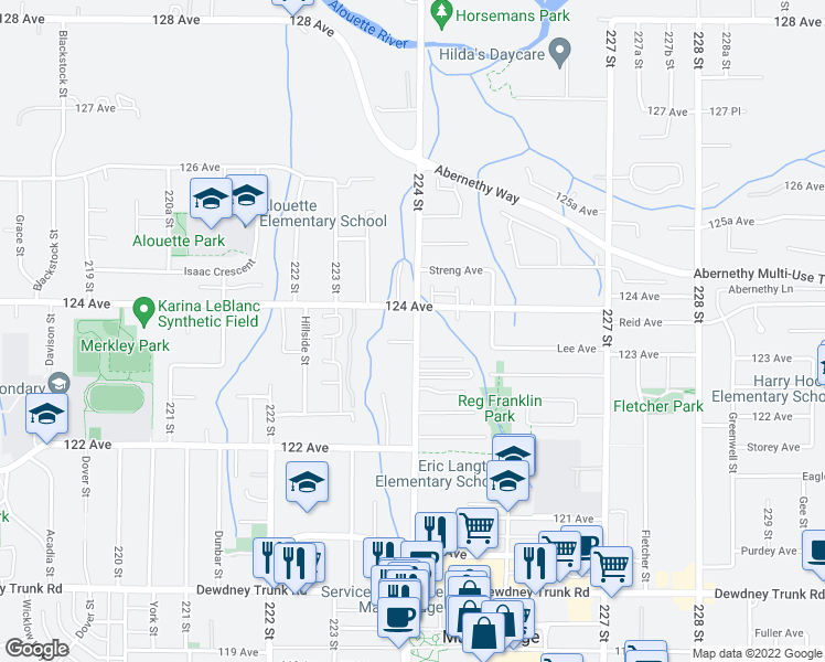 map of restaurants, bars, coffee shops, grocery stores, and more near 12367 224 Street in Maple Ridge
