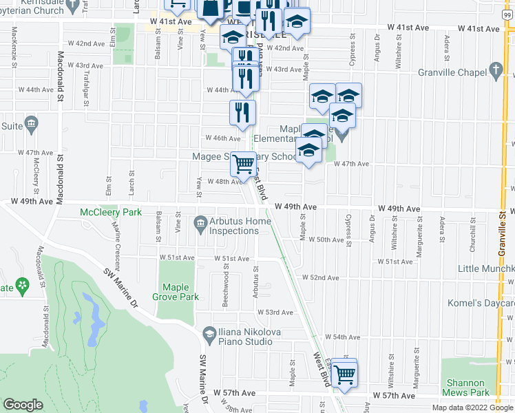 map of restaurants, bars, coffee shops, grocery stores, and more near 6508 East Boulevard in Vancouver