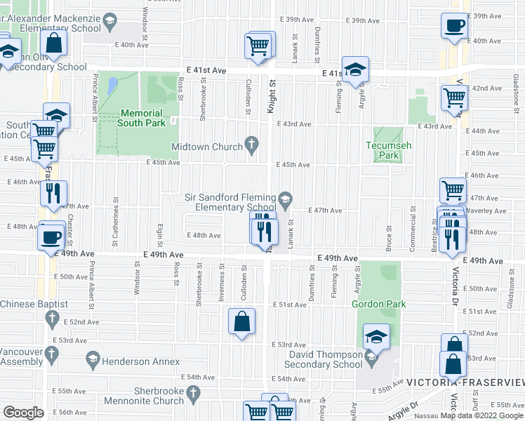 map of restaurants, bars, coffee shops, grocery stores, and more near 6295 Knight Street in Vancouver