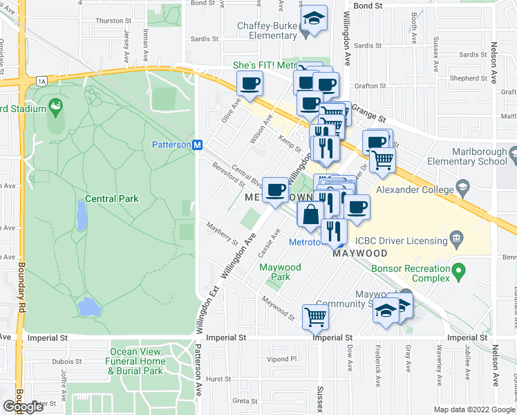 map of restaurants, bars, coffee shops, grocery stores, and more near 4350 Beresford Street in Burnaby