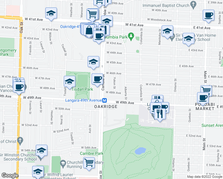 map of restaurants, bars, coffee shops, grocery stores, and more near 6369 Yukon Street in Vancouver