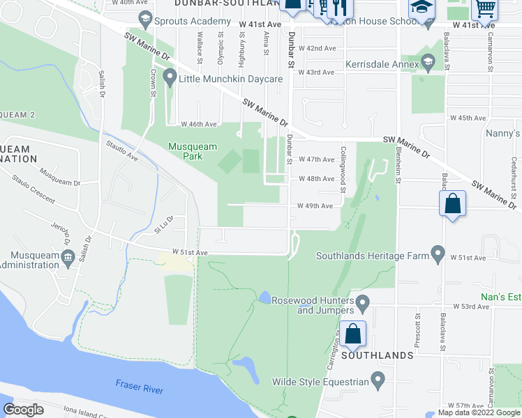 map of restaurants, bars, coffee shops, grocery stores, and more near 3720 West 49th Avenue in Vancouver