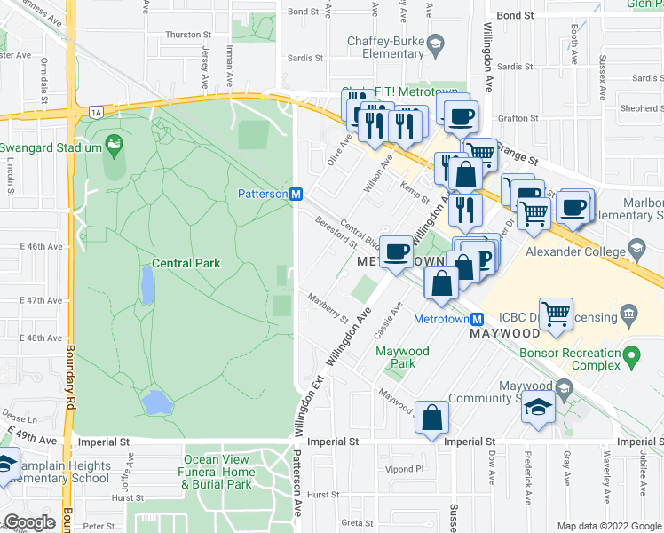 map of restaurants, bars, coffee shops, grocery stores, and more near 6188 Wilson Avenue in Burnaby