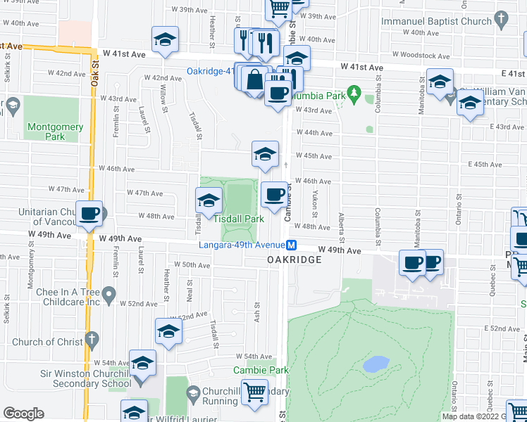map of restaurants, bars, coffee shops, grocery stores, and more near 6336 Ash Street in Vancouver