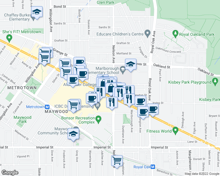 map of restaurants, bars, coffee shops, grocery stores, and more near 4888 Hazel Street in Burnaby