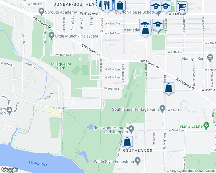 map of restaurants, bars, coffee shops, grocery stores, and more near 3575 West 49th Avenue in Vancouver