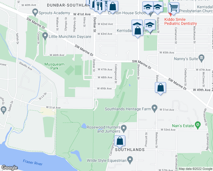 map of restaurants, bars, coffee shops, grocery stores, and more near 3541 West 49th Avenue in Vancouver