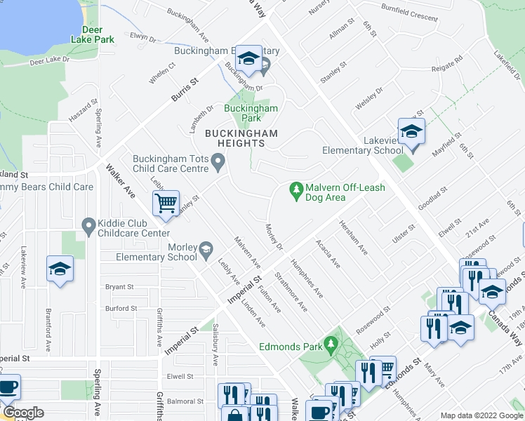 map of restaurants, bars, coffee shops, grocery stores, and more near 7435 Morley Drive in Burnaby