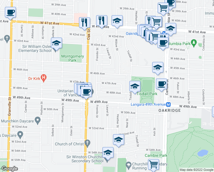 map of restaurants, bars, coffee shops, grocery stores, and more near 856 West 47th Avenue in Vancouver