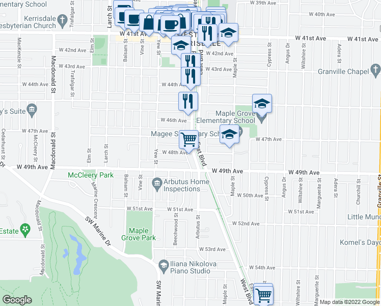 map of restaurants, bars, coffee shops, grocery stores, and more near 2102 West 48th Avenue in Vancouver