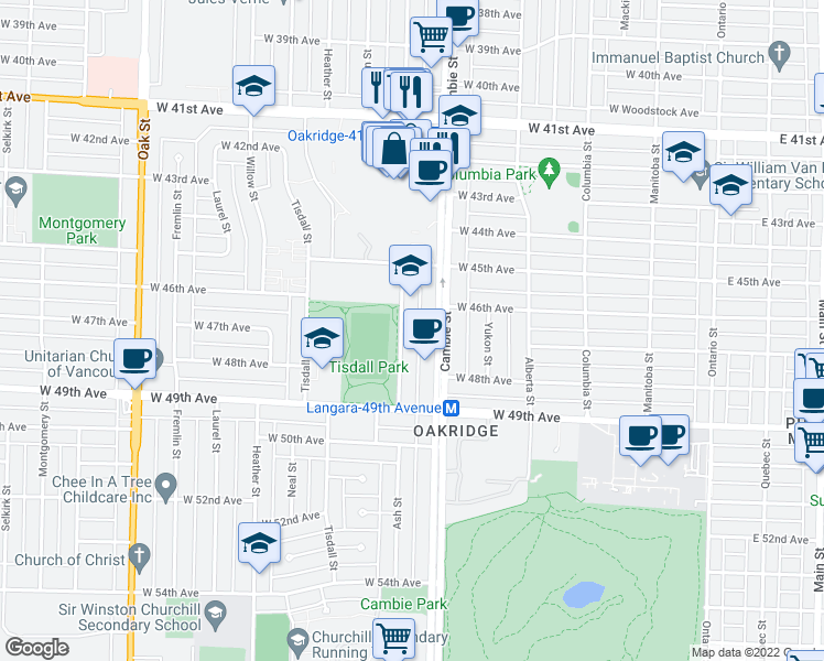 map of restaurants, bars, coffee shops, grocery stores, and more near 6262 Ash Street in Vancouver