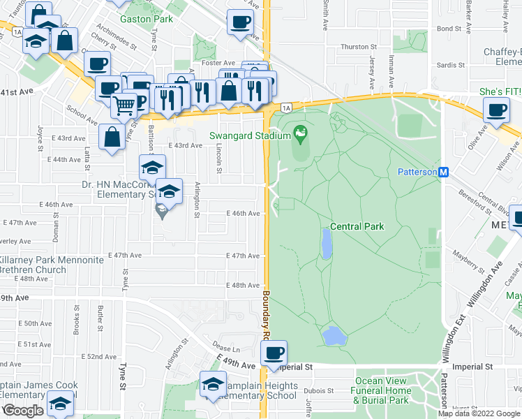 map of restaurants, bars, coffee shops, grocery stores, and more near 6191 Boundary Road in Burnaby
