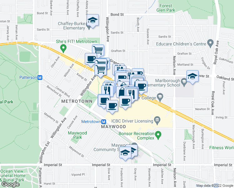 map of restaurants, bars, coffee shops, grocery stores, and more near 4670 Assembly Way in Burnaby