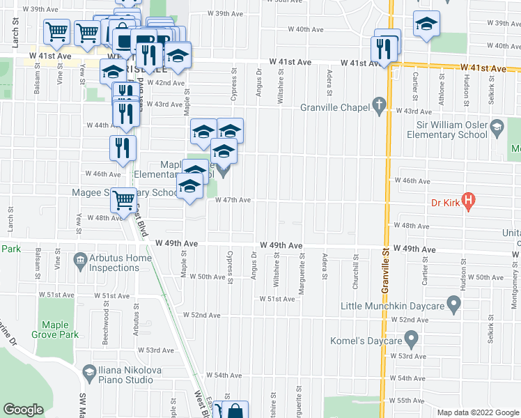 map of restaurants, bars, coffee shops, grocery stores, and more near 6338 Angus Drive in Vancouver