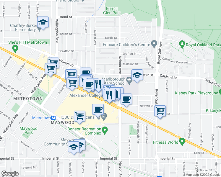 map of restaurants, bars, coffee shops, grocery stores, and more near 4825 Hazel Street in Burnaby
