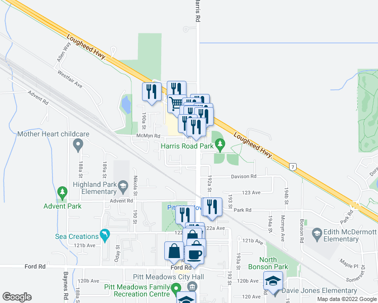 map of restaurants, bars, coffee shops, grocery stores, and more near 12464 191B Street in Pitt Meadows