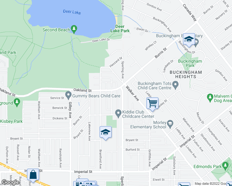 map of restaurants, bars, coffee shops, grocery stores, and more near 6676 Oakland Street in Burnaby