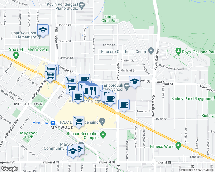 map of restaurants, bars, coffee shops, grocery stores, and more near 6070 McMurray Avenue in Burnaby