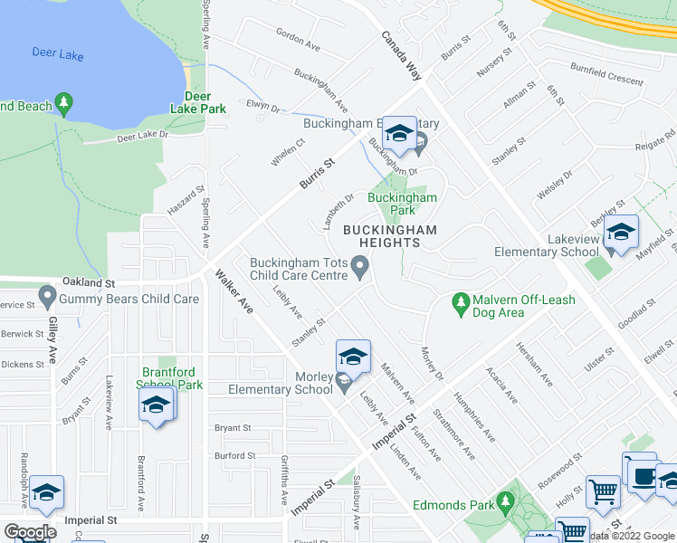 map of restaurants, bars, coffee shops, grocery stores, and more near 7451 Lambeth Drive in Burnaby