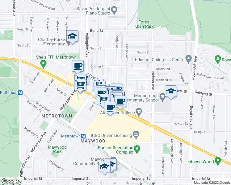 map of restaurants, bars, coffee shops, grocery stores, and more near 4689 Hazel Street in Burnaby