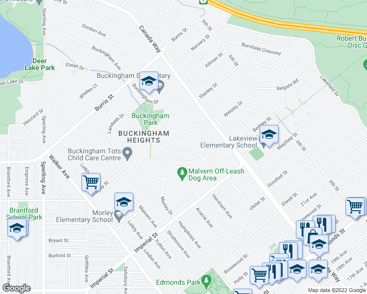 map of restaurants, bars, coffee shops, grocery stores, and more near 6172 Gordon Place in Burnaby