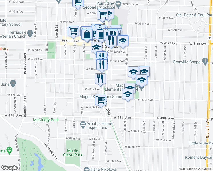 map of restaurants, bars, coffee shops, grocery stores, and more near 101 East Boulevard in Vancouver