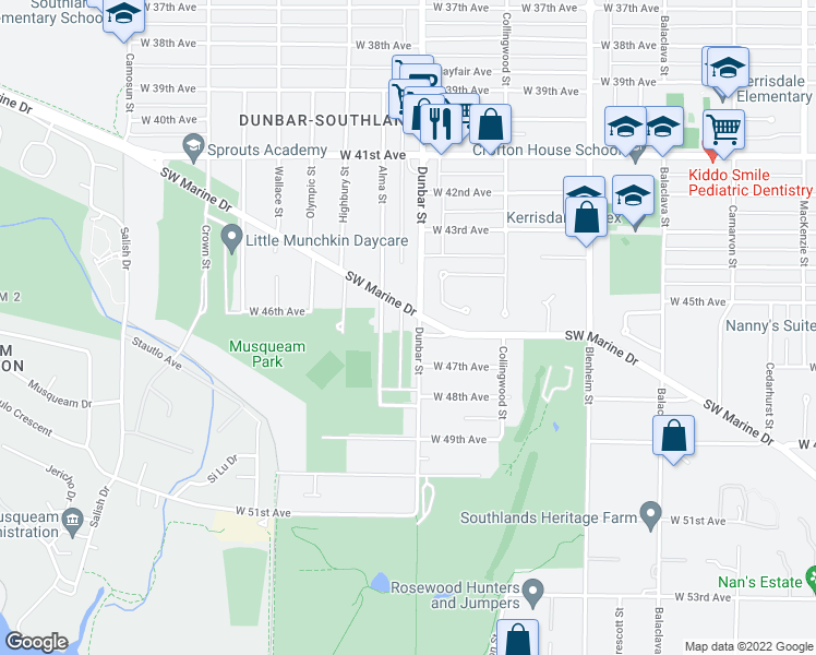 map of restaurants, bars, coffee shops, grocery stores, and more near 6203 Dunbar Street in Vancouver