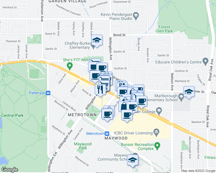 map of restaurants, bars, coffee shops, grocery stores, and more near 4508 Hazel Street in Burnaby