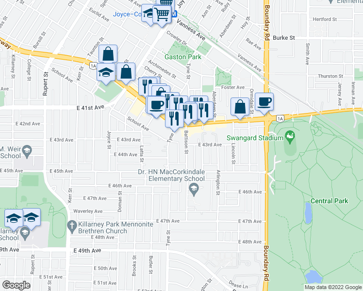 map of restaurants, bars, coffee shops, grocery stores, and more near 5865 Battison Street in Vancouver