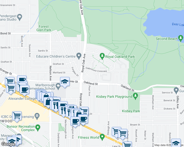 map of restaurants, bars, coffee shops, grocery stores, and more near 5281 Oakmount Crescent in Burnaby