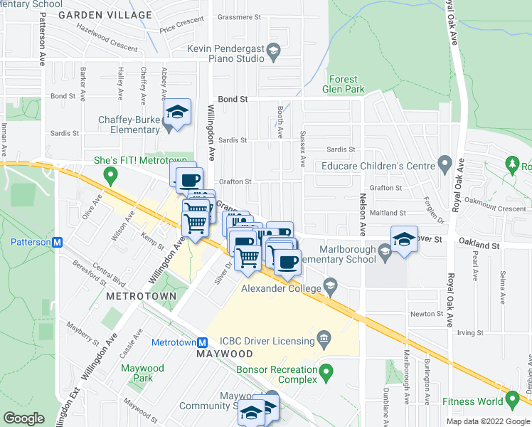 map of restaurants, bars, coffee shops, grocery stores, and more near 4625 Grange Street in Burnaby