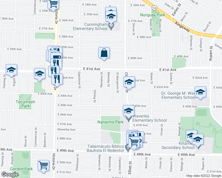 map of restaurants, bars, coffee shops, grocery stores, and more near 5816 Berkeley Street in Vancouver