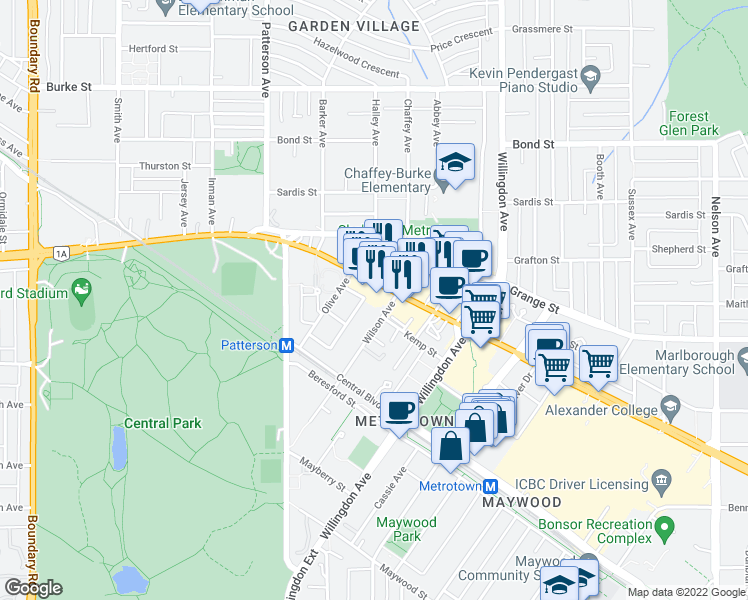 map of restaurants, bars, coffee shops, grocery stores, and more near 5967 Wilson Avenue in Burnaby