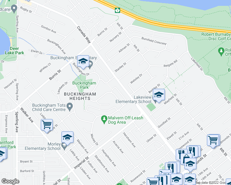 map of restaurants, bars, coffee shops, grocery stores, and more near 6390 Gordon Avenue in Burnaby