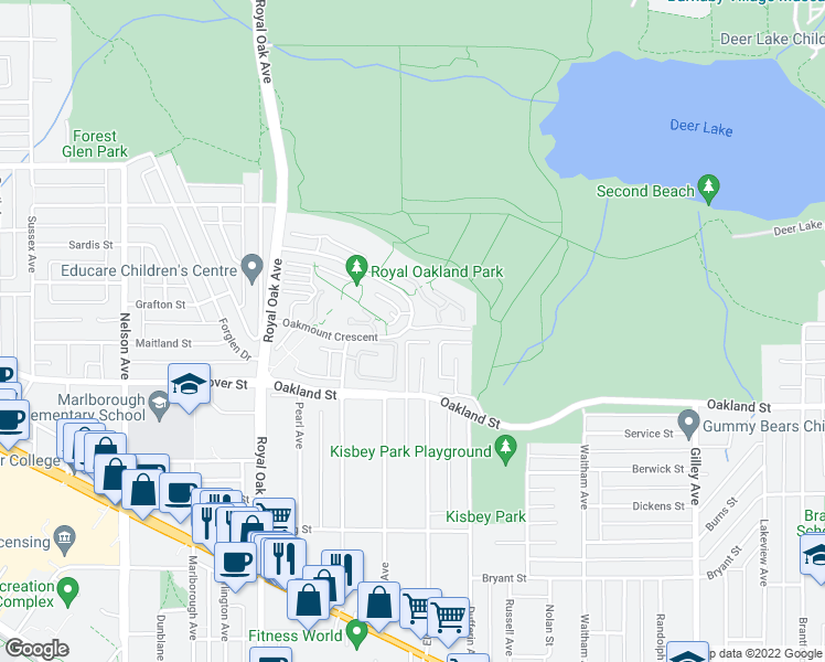 map of restaurants, bars, coffee shops, grocery stores, and more near 5239 Oakmount Crescent in Burnaby