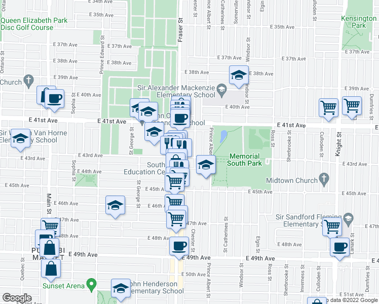 map of restaurants, bars, coffee shops, grocery stores, and more near 5875 Chester Street in Vancouver