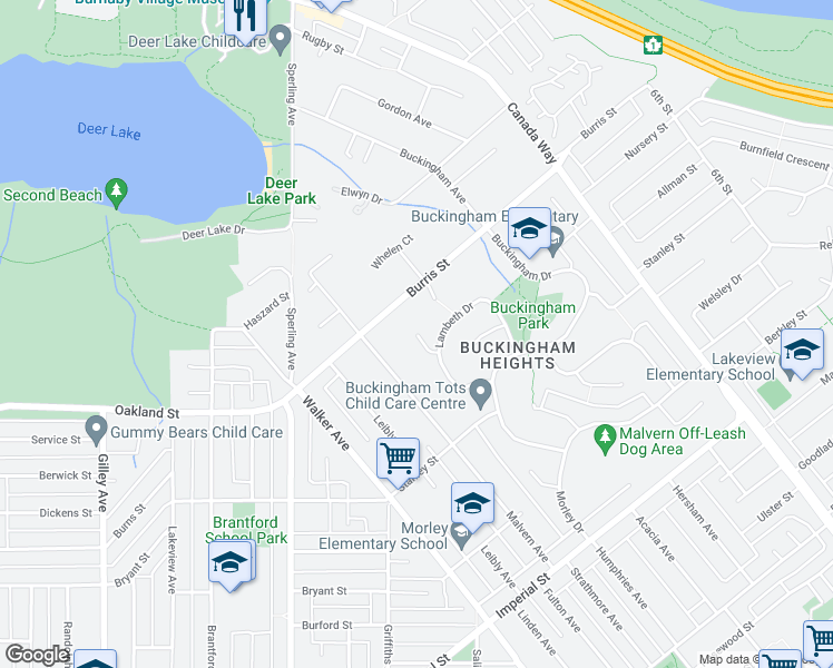map of restaurants, bars, coffee shops, grocery stores, and more near 6001 Humphries Place in Burnaby