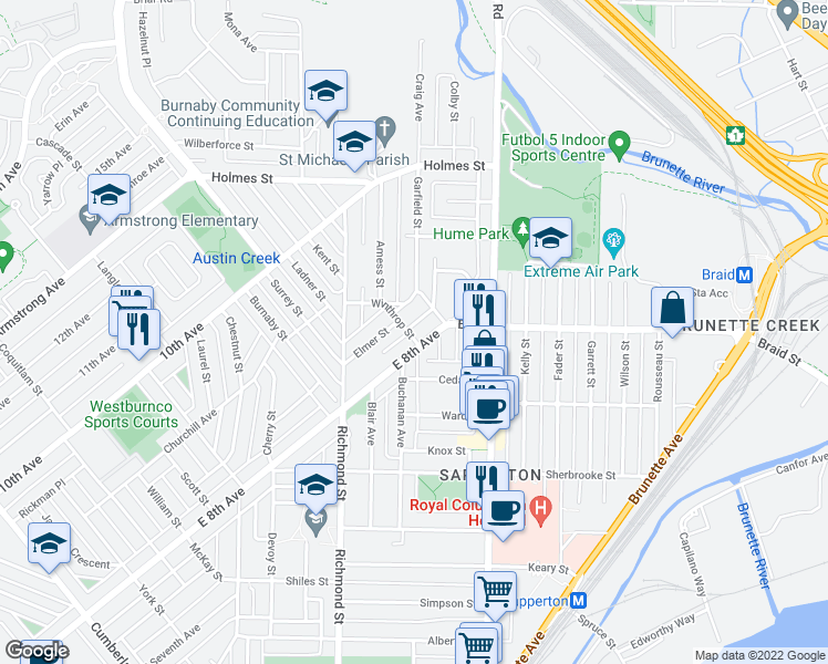 map of restaurants, bars, coffee shops, grocery stores, and more near 502 McDonald Street in New Westminster