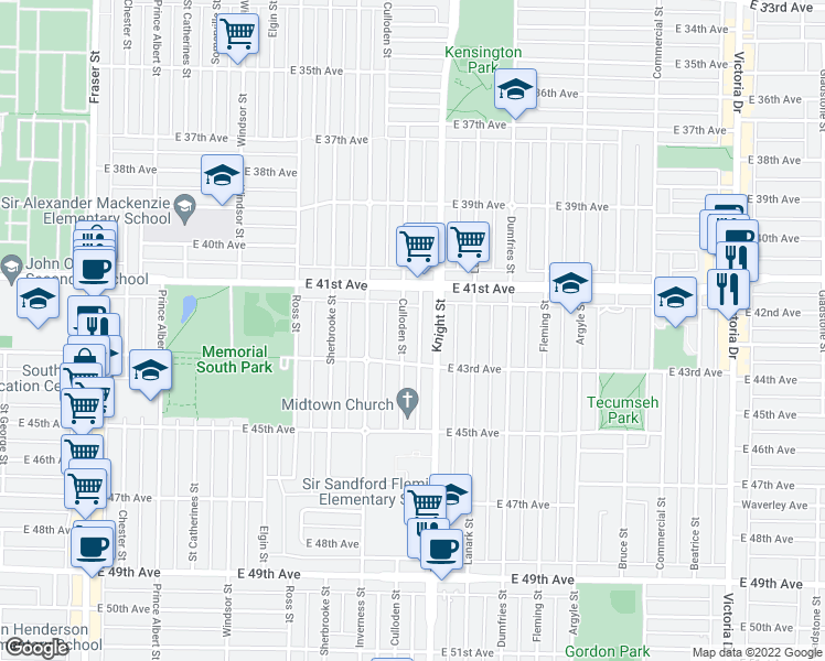 map of restaurants, bars, coffee shops, grocery stores, and more near 5832 Culloden Street in Vancouver