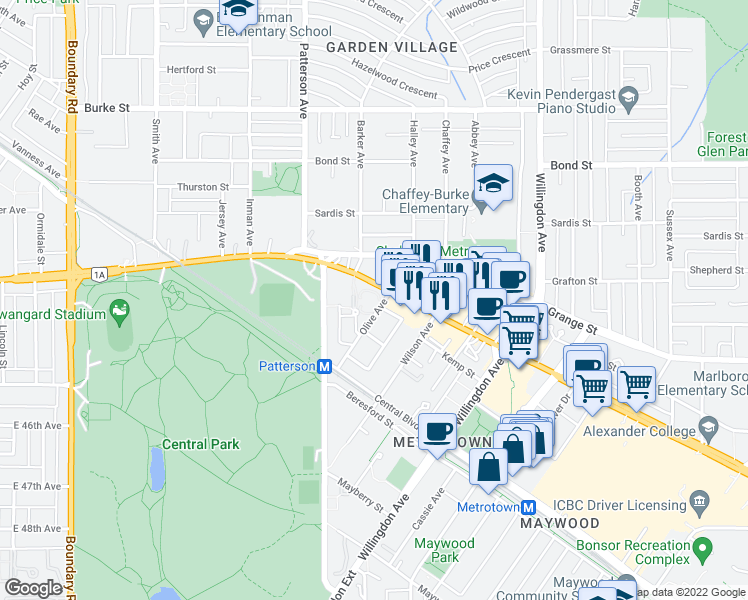 map of restaurants, bars, coffee shops, grocery stores, and more near 5885 Olive Avenue in Burnaby