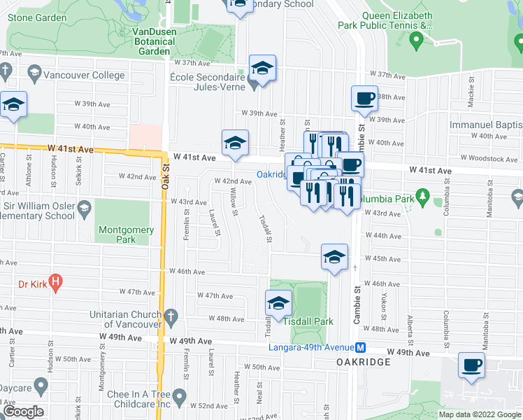 map of restaurants, bars, coffee shops, grocery stores, and more near 5926 Tisdall Street in Vancouver