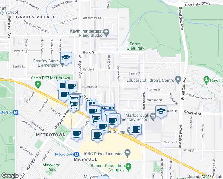 map of restaurants, bars, coffee shops, grocery stores, and more near 5818 Booth Avenue in Burnaby