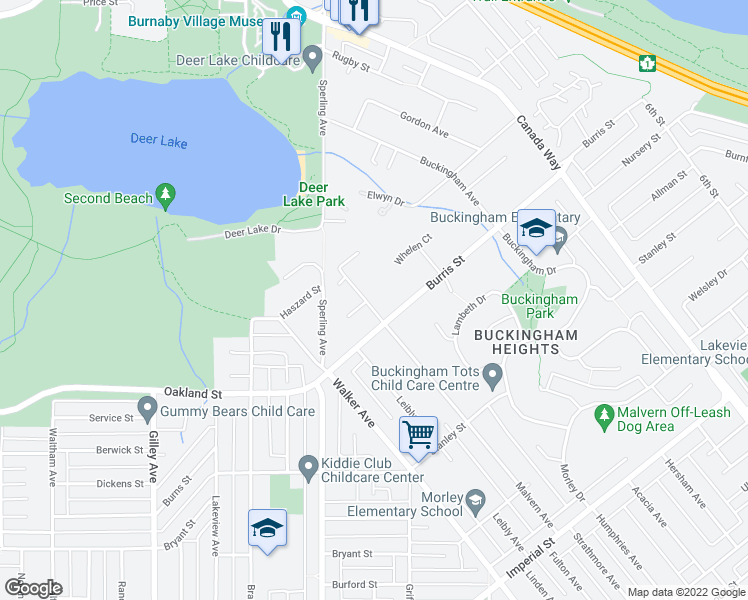 map of restaurants, bars, coffee shops, grocery stores, and more near 5816 Malvern Avenue in Burnaby