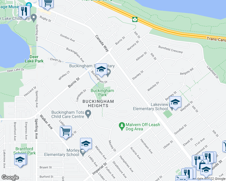 map of restaurants, bars, coffee shops, grocery stores, and more near 6233 Buckingham Drive in Burnaby