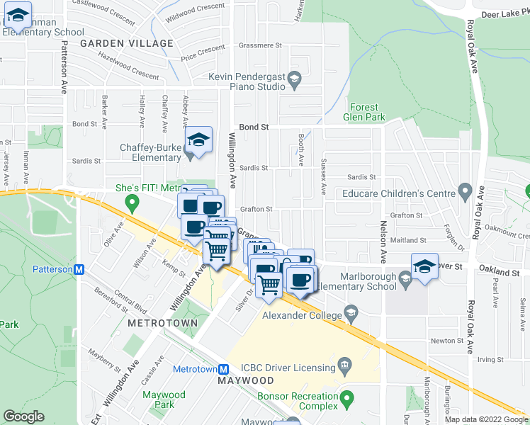 map of restaurants, bars, coffee shops, grocery stores, and more near 4568 Grafton Street in Burnaby