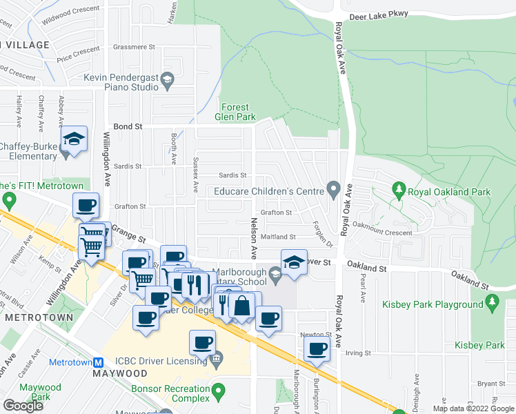map of restaurants, bars, coffee shops, grocery stores, and more near 5748 Nelson Avenue in Burnaby