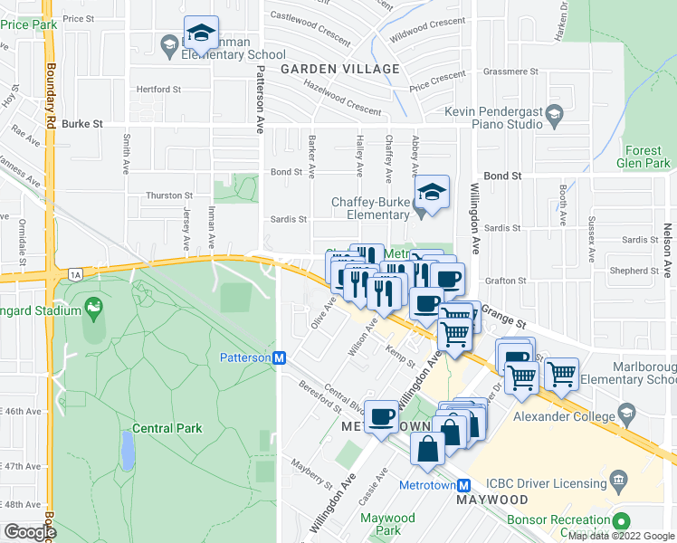 map of restaurants, bars, coffee shops, grocery stores, and more near 4288 Grange Street in Burnaby